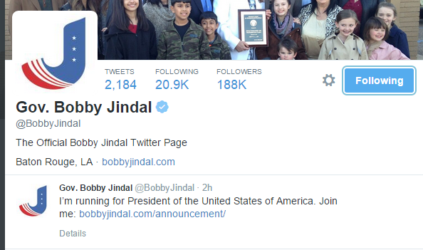 Louisiana governor Bobby Jindal tweets that he is running for President in 2016