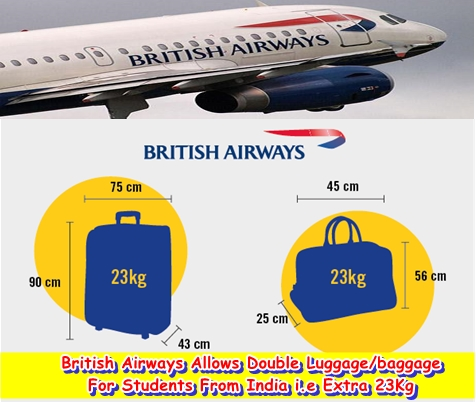 British Airways Allows Double Luggage/baggage For Students From India