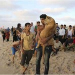 Kids Playing With Tigers In Gaza Beach