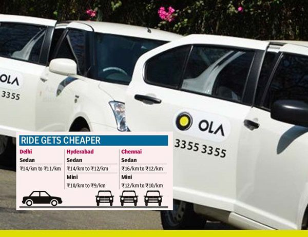 OLA Cabs decreased the price of taxi in delhi, hyderabad and chennai