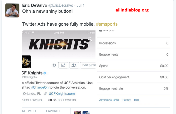 Twitter rolls out new Ad button for Android, iOS