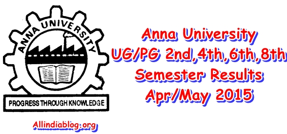 Anna University UG PG 2nd 4th 6th 8th Sem Results April/May 2015