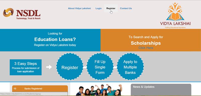 Vidya Lakshmi Portal registration