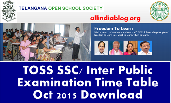 TOSS SSC Inter Public Examination Time Table Oct 2015