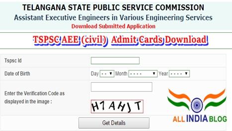 TSPSC AEE CIVIL 2015 Admit Card Download tspsc.gov.in - Tspsc Results