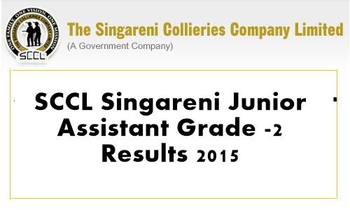 SCCL Singareni Junior Assistant Grade -2 Results 2015