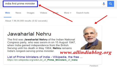 Google Shows India First Prime Minister as Narendra Modi Photo Instead of Nehru