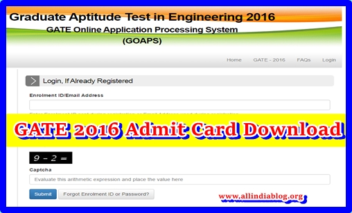 GATE 2016 Admit Card Download