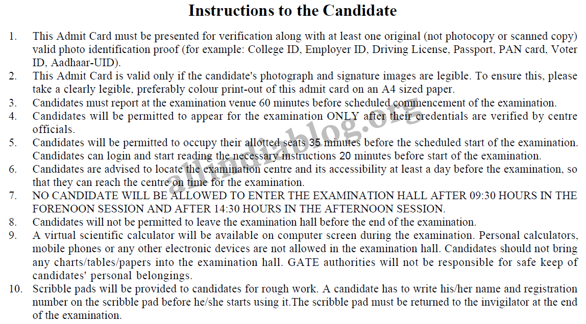 gate 2016 instructions to the candidate