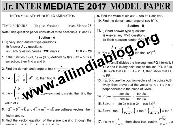 intermediate 1st year chemistry previous question papers Xat home  question papers ap inter11th class previous year questions  papers for download  ap inter 1st year mathematics tm ib - march 2018.