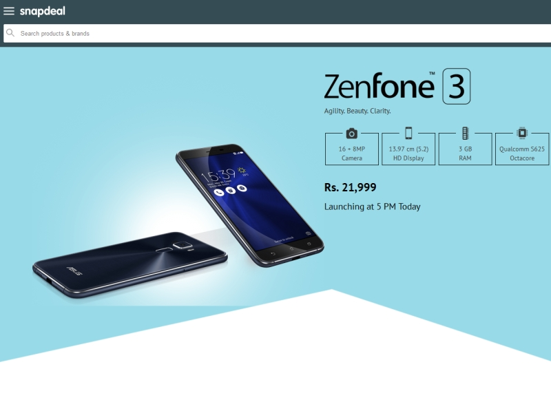 Asus Zenfone 3 price in India reveled by Snap Deal