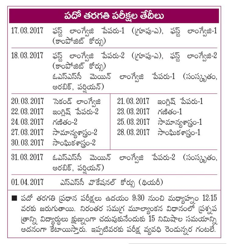 ap-ssc-time-table-march-2017