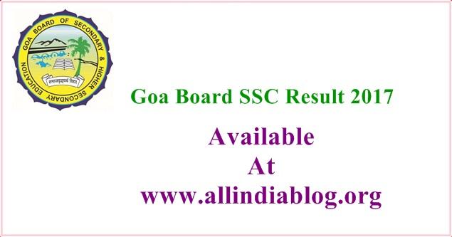 Goa Board SSC Result 2017