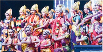 Artistes perform at Pay itra sangamam on the occasion of Diwali celebrations
